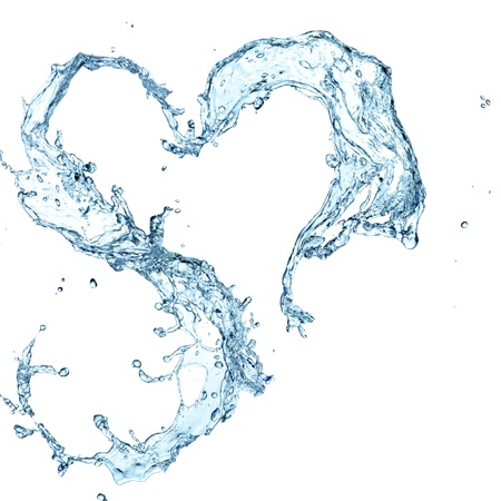 Water heart over white background