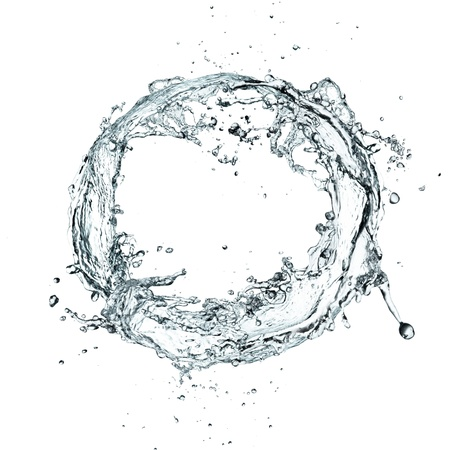 Water splash ring over white background Imagens