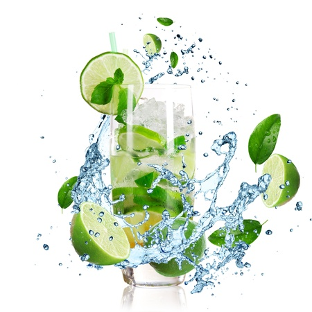 Mojito cocktail with splashing liquid