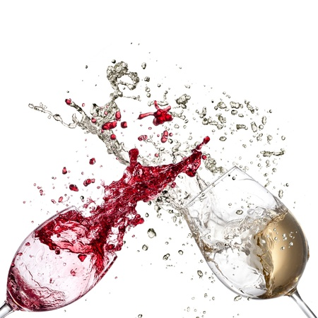 abstract liquor: White and red wine splash Stock Photo