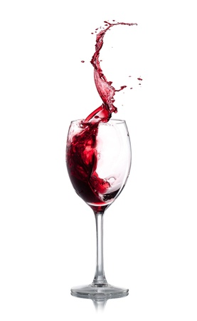abstract liquor: Red wine splash over white background