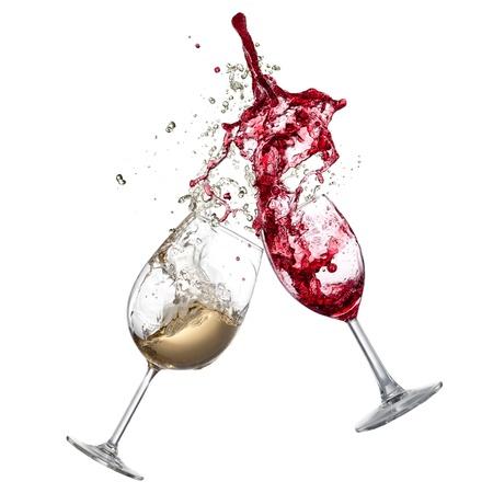 White and red wine splash Stock Photo
