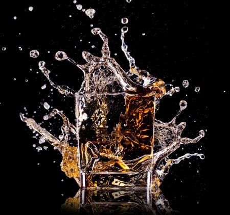 whiskey: Close-up van glas met whisky