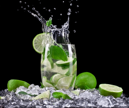 Mojito cocktail on black background photo