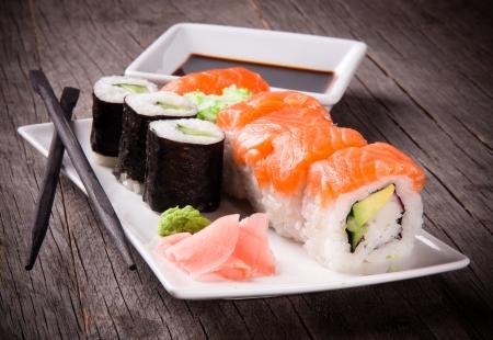 sushi plate: Japanese seafood sushi  Stock Photo