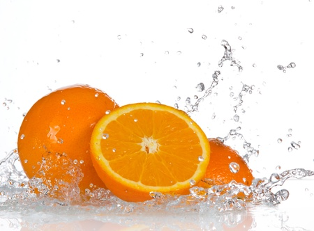 citruses: Orange fruits and Splashing water  Stock Photo