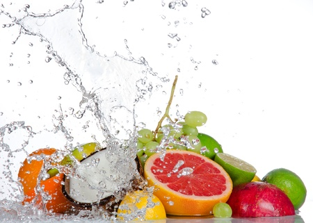 Fresh fruits with water splash isolated on white Stock Photo - 18394336