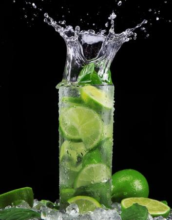 Mojito cocktail on black background Stock Photo