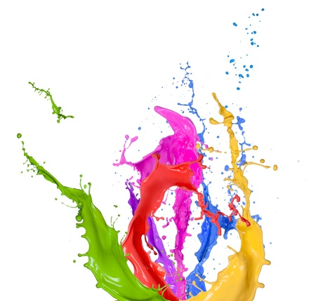 fluid: Colored splashes in abstract shape, isolated on white background