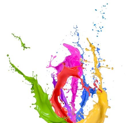 Spruzzi colorati in forma astratta, isolata su sfondo bianco