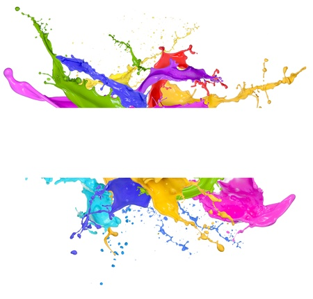 Colored splashes in abstract shape, isolated on white background  photo