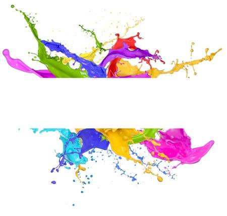 arcobaleno astratto: Spruzzi colorati in forma astratta, isolata su sfondo bianco