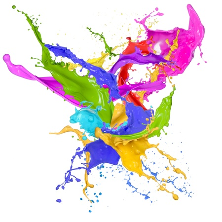 to paint colorful: Colored splashes in abstract shape, isolated on white background