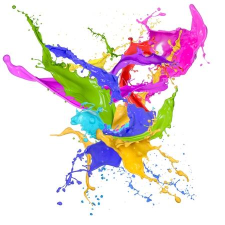 flujo: Salpicaduras de color en forma abstracta, aislada sobre fondo blanco