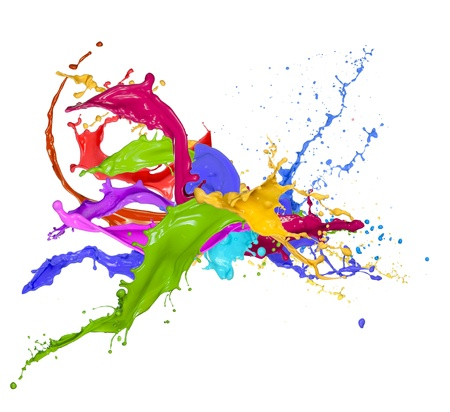 paintbrush spray: Colored splashes in abstract shape, isolated on white background