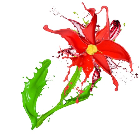 Abstract flower made of Colored splashes, isolated on white background  photo