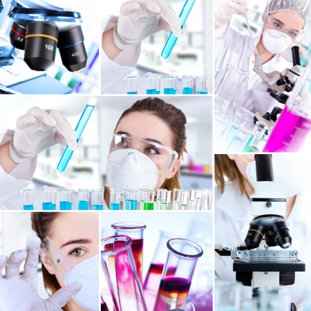 chemical laboratory: Female researcher with test tubes in laboratory Stock Photo