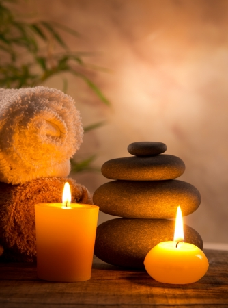 spa candles: Spa still life with aromatic candles Stock Photo