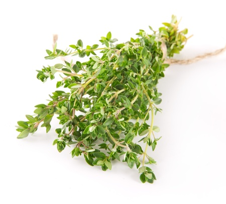 Fresh thyme on white background photo