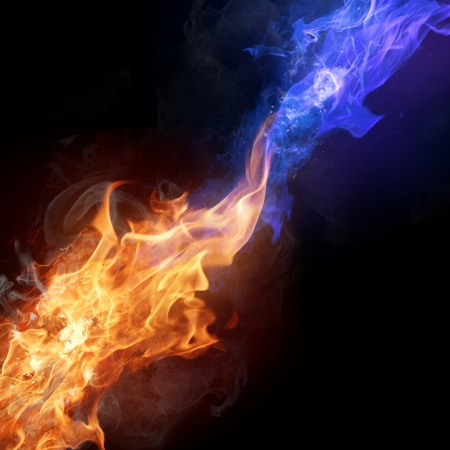 blue flame: Two colors fire flames Stock Photo