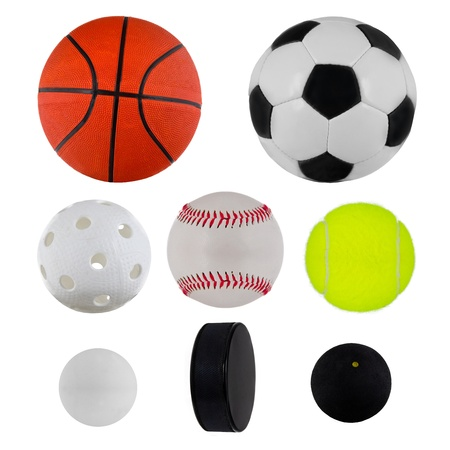 cue ball: Sport balls collection over white Stock Photo