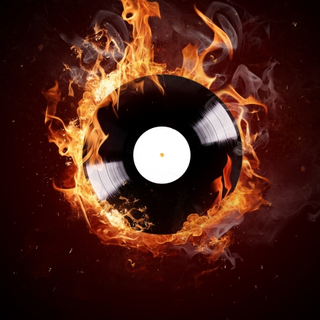dj turntable: Burning vinyl disc-Hot hits