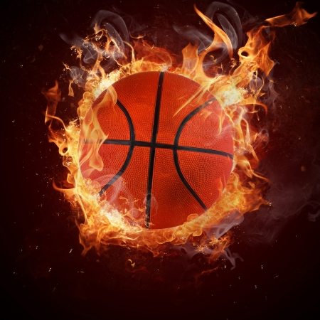 fire circle: Hot basketball in fires flame Stock Photo