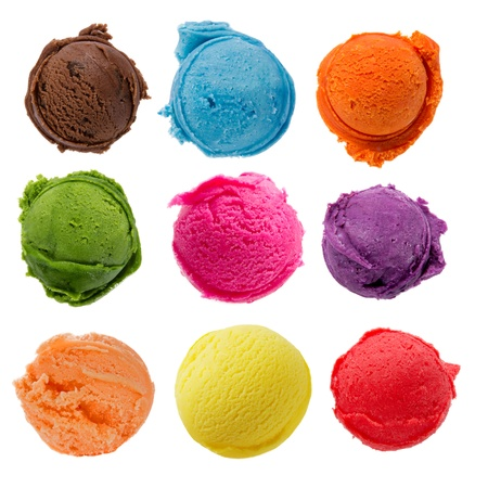 Ice cream scoops collection on white background Stock Photo - 19117588