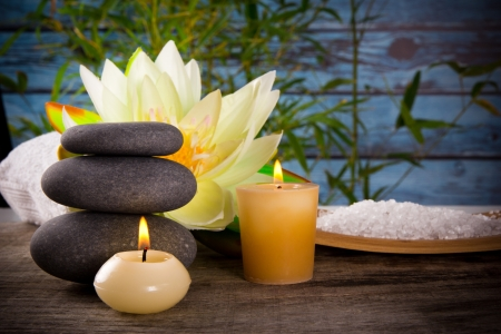 alternative wellness: Spa still life with aromatic candles Stock Photo