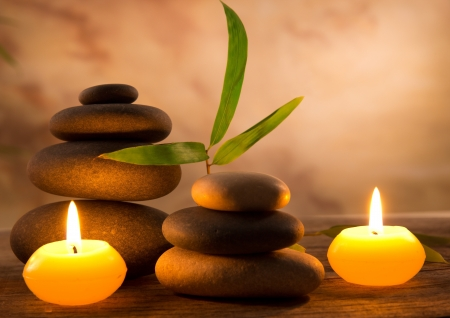 zen spa: Spa still life with aromatic candles Stock Photo
