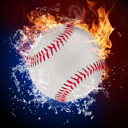extreme heat: Baseball ball in fire flames and splashing water