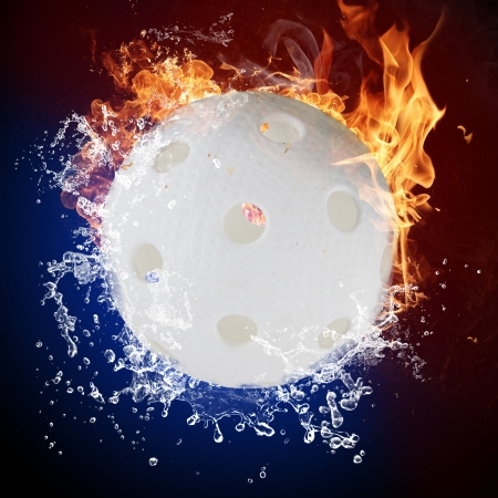 Floorball in fire flames and water splashes photo