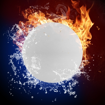 extreme heat:  ball in fire flames and splashing water