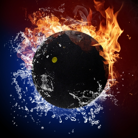 squash: Squash ball in fire flames and splashing water