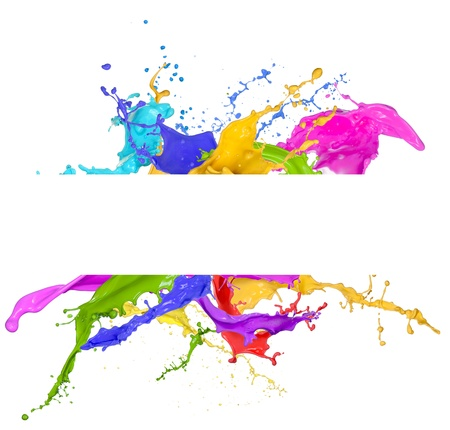 splash paint: Colored splashes in abstract shape, isolated on white background