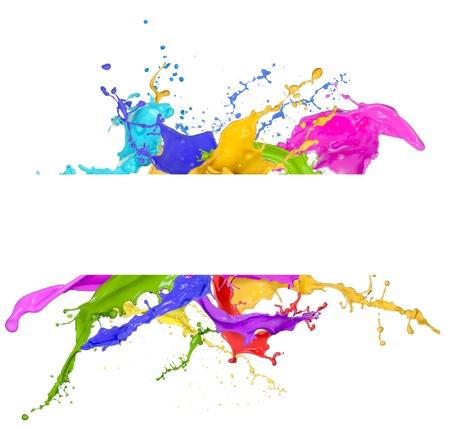 Farbige Spritzer in abstrakte Form, isoliert auf weißem Hintergrund Standard-Bild