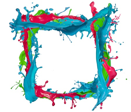 paintbrush spray: Colored splashes frame, isolated on white background