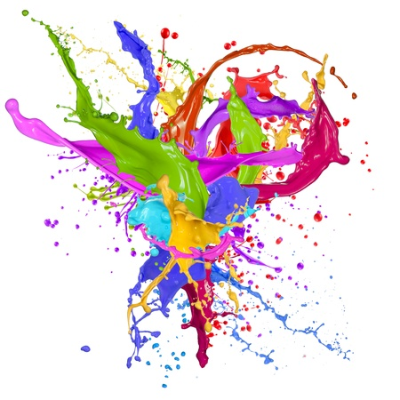 to paint colorful: Colorful paint splashing isolated on white Stock Photo