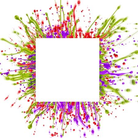 color splashes: Colorful paint splashing isolated on white Stock Photo
