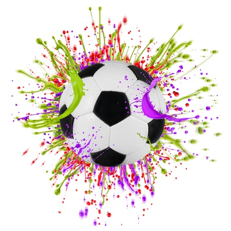 Colorful splashing with soccer ball isolated on white photo