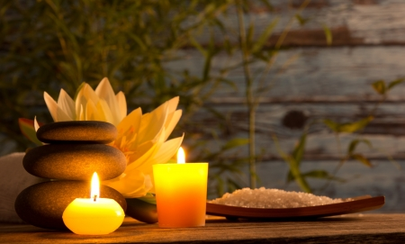 zen candles: Spa still life with aromatic candles Stock Photo