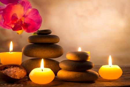 burning: Spa still life with aromatic candles Stock Photo