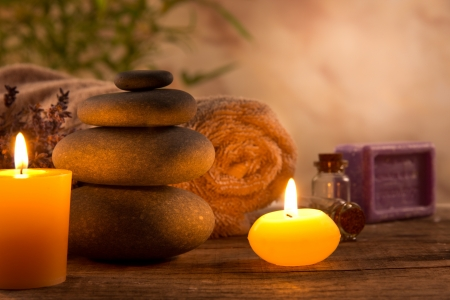aromatherapy: Spa still life with aromatic candles Stock Photo