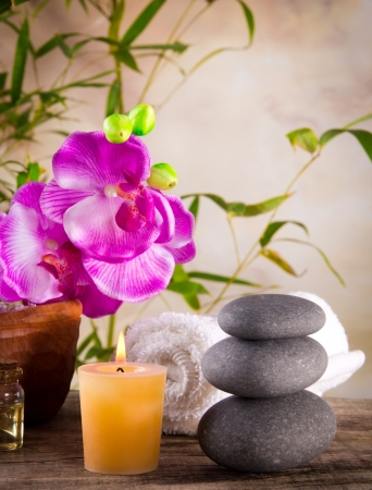 alternative wellness: Spa still life with aromatic candle