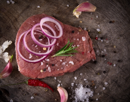 charbroiled: Raw beef steak on wooden table