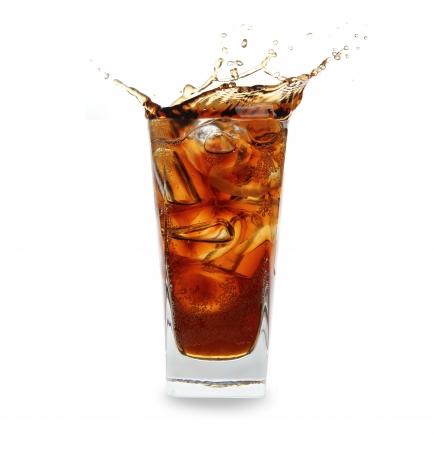 ガラス、コーラをはねて