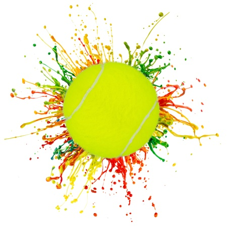 colorful splash with sport ball on white background photo