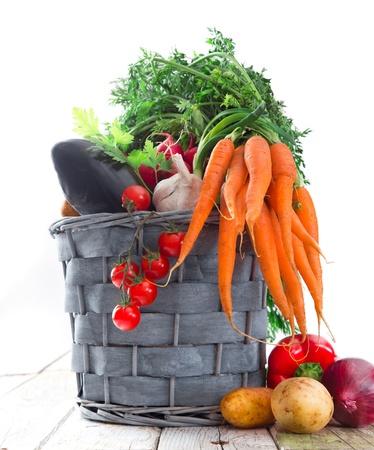 Fresh vegetable on wooden background Stock Photo