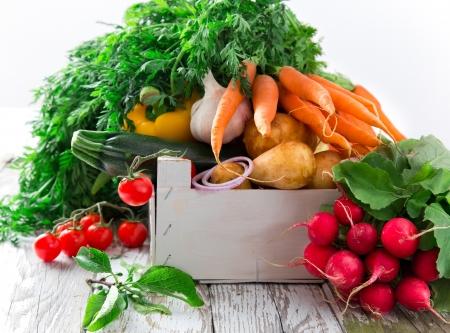 Fresh vegetable on wooden background Stock Photo - 19859624