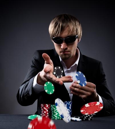 jeu de carte: Portrait d'un joueur de poker professionnel Banque d'images
